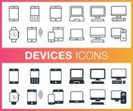 Sistema de esquema y de iconos planos de los dispositivos Fotografía de archivo libre de regalías