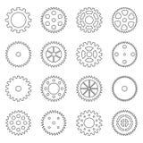 Sistema de esquemas de las ruedas de engranaje, ejemplo del vector imagen de archivo libre de regalías