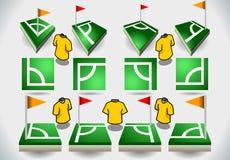 Sistema de esquina y de iconos del fútbol Fotos de archivo