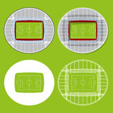 Sistema de estadios de fútbol en diseño plano stock de ilustración