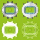 Sistema de estadios de fútbol en diseño plano Opinión superior de los estadios de fútbol Ilustración del vector libre illustration
