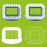 Sistema de estadios de fútbol en diseño plano Opinión superior de los estadios de fútbol Ilustración del vector ilustración del vector
