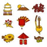 Sistema de estilo dibujado de los iconos a disposición en el tema de Japón Fotos de archivo