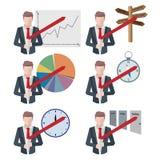 Sistema de estilo plano de las situaciones del hombre de negocios de los iconos del hombre de negocios Foto de archivo