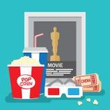 Sistema de estilo plano de los elementos del diseño de la película Imagenes de archivo