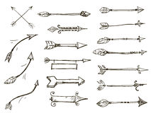 Sistema de estilo tribal de las flechas del garabato Imagen de archivo