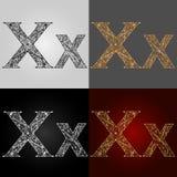 Sistema de estilos de la representación visual del alfabeto El ` del ` x de la letra deletreado handmade Fotografía de archivo