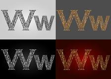 Sistema de estilos de la representación visual del alfabeto El ` del ` w de la letra deletreado handmade Foto de archivo libre de regalías