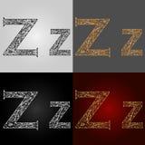 Sistema de estilos de la representación visual del alfabeto El ` del ` z de la letra deletreado handmade Imagenes de archivo