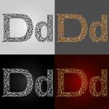 Sistema de estilos de la representación visual del alfabeto La letra D deletreado handmade Fotografía de archivo libre de regalías