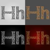Sistema de estilos de la representación visual del alfabeto La letra H deletreado handmade Fotos de archivo