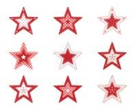 Sistema de estrellas decorativas del remiendo rojo, en el fondo blanco, ejemplo Imagenes de archivo