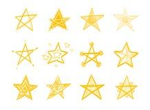 Sistema de estrellas dibujadas mano ilustración del vector