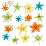 Sistema de estrellas divertidas dibujadas mano Estilo cómico de la historieta para su desi Fotografía de archivo