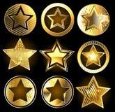 Sistema de estrellas militares del oro Foto de archivo libre de regalías