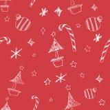 Sistema de estrellas y del árbol dibujados mano de los chrismas Ilustración retra de la vendimia style Fondo inconsútil los chris Fotos de archivo