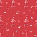 Sistema de estrellas y del árbol dibujados mano de los chrismas Ilustración retra de la vendimia style Fondo inconsútil los chris Imagen de archivo libre de regalías