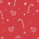 Sistema de estrellas y del árbol dibujados mano de los chrismas Ilustración retra de la vendimia style Fondo inconsútil los chris Fotos de archivo libres de regalías