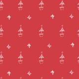 Sistema de estrellas y del árbol dibujados mano de los chrismas Ilustración retra de la vendimia style Fondo inconsútil los chris Foto de archivo libre de regalías