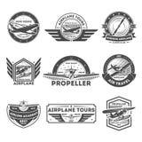 Sistema de etiqueta aislado vintage del aeroplano stock de ilustración