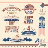 Sistema de etiqueta americano del Día de la Independencia stock de ilustración
