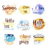 Sistema de etiqueta colorido de los días de fiesta de la playa del verano Imágenes de archivo libres de regalías