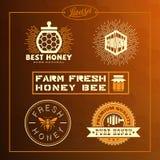 Sistema de etiqueta de la abeja de la miel Imágenes de archivo libres de regalías