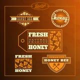 Sistema de etiqueta de la abeja de la miel Fotos de archivo libres de regalías