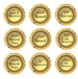 Sistema de etiqueta del alojamiento stock de ilustración
