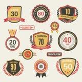 Sistema de etiqueta del aniversario Fotos de archivo libres de regalías