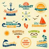Sistema de etiqueta del elemento del verano Imagen de archivo libre de regalías