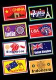 Sistema de etiqueta del viaje Fotografía de archivo libre de regalías