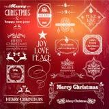 Sistema de etiqueta del vintage de la Navidad Fotografía de archivo libre de regalías