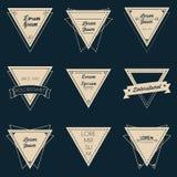 Sistema de etiqueta del vintage del triángulo Foto de archivo
