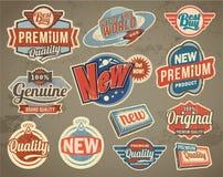 Sistema de etiqueta del vintage Fondos retros de la bandera del diseño del vector Imagen de archivo