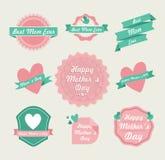 Sistema de etiqueta feliz del vintage del día de madres ilustración del vector