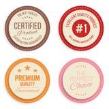 Sistema de etiqueta de la garantía Insignias modernas coloridas de las marcas de calidad aisladas en el fondo blanco stock de ilustración