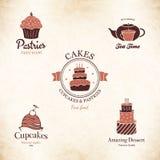 Sistema de etiqueta para el menú del restaurante, la panadería y la tienda de pasteles Imagenes de archivo