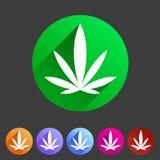 Sistema de etiqueta plano del logotipo del símbolo de la muestra del web del icono del cáñamo de la marijuana stock de ilustración