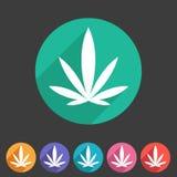 Sistema de etiqueta plano del logotipo del símbolo de la muestra del web del icono del cáñamo de la marijuana libre illustration