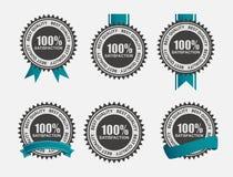 Sistema 100% de etiqueta retro de la satisfacción del vector con Foto de archivo libre de regalías
