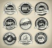 Sistema de etiqueta retro de la tinta stock de ilustración