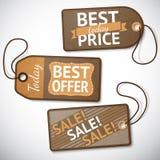 Sistema de etiquetas al por menor de la venta de la cartulina Imagen de archivo libre de regalías