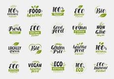 Sistema de etiquetas amistosas y orgánicas de la comida del eco Vegano, iconos de la ecología Vector Stock de ilustración