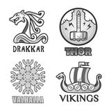 Sistema de etiquetas antiguo escandinavo de los guerreros de Viking de la nave, de los escudos de los brazos y del casco stock de ilustración
