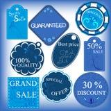 Sistema de etiquetas azules de la venta Foto de archivo libre de regalías