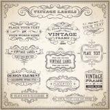 Sistema de etiquetas caligráfico del vintage Foto de archivo libre de regalías
