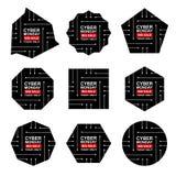 Sistema de etiquetas cibernético de la venta de lunes stock de ilustración