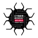 Sistema de etiquetas cibernético de la venta de lunes libre illustration