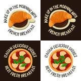 Sistema de etiquetas coloridas con el desayuno francés e italiano Imagenes de archivo